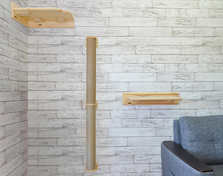 когтеточка для кошек на стену с полкой